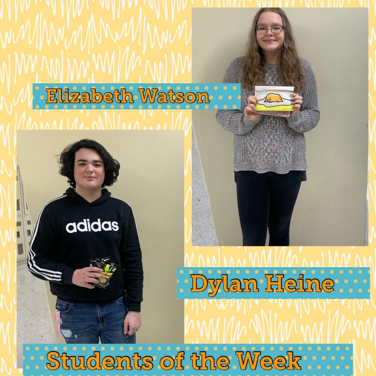 Congratulations to our students of the week! Each week we highlight two students who are actively contributing to our Cub culture in a positive way. They are nominated by their teachers and peers.