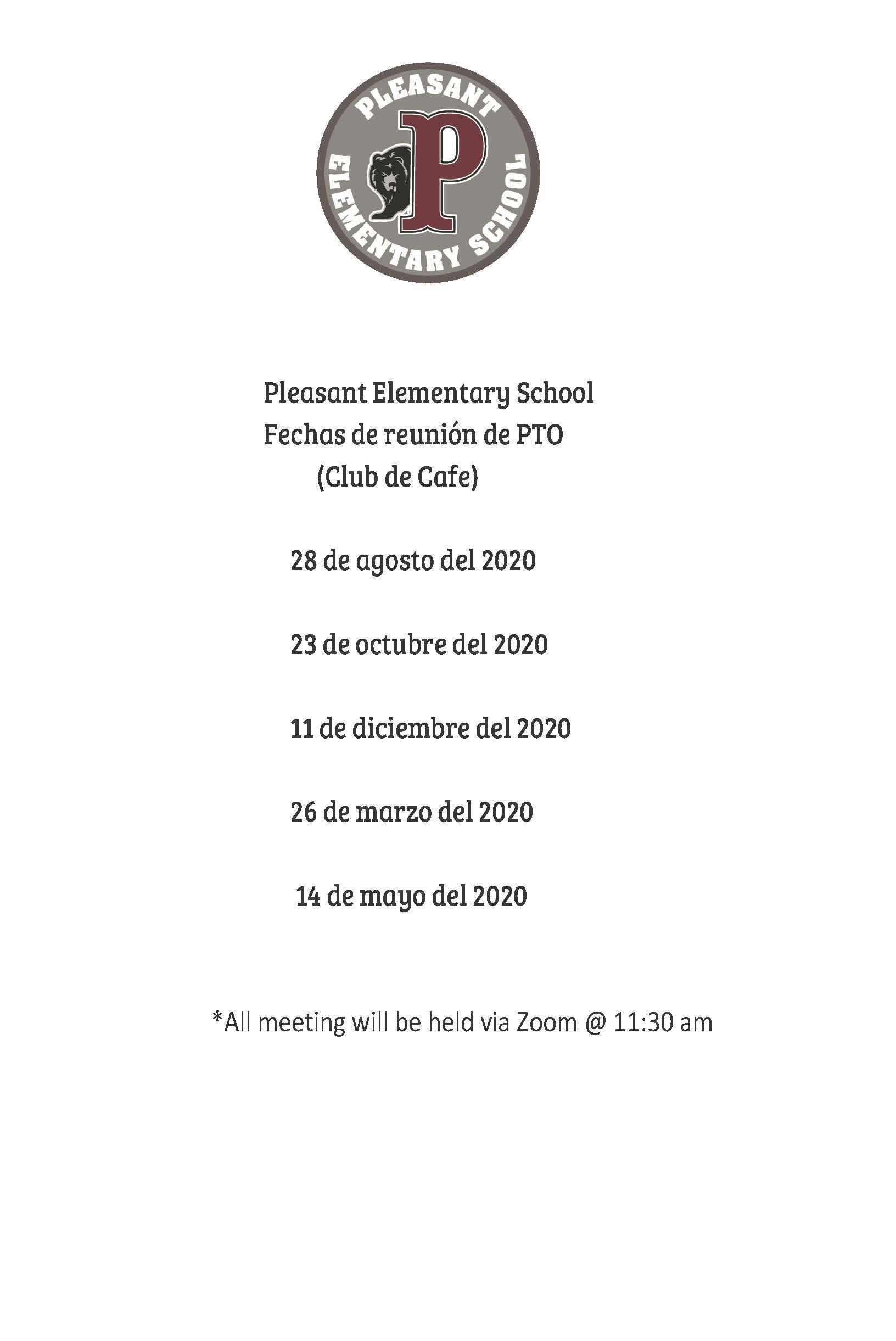 PTO meeting dates/times 20/21