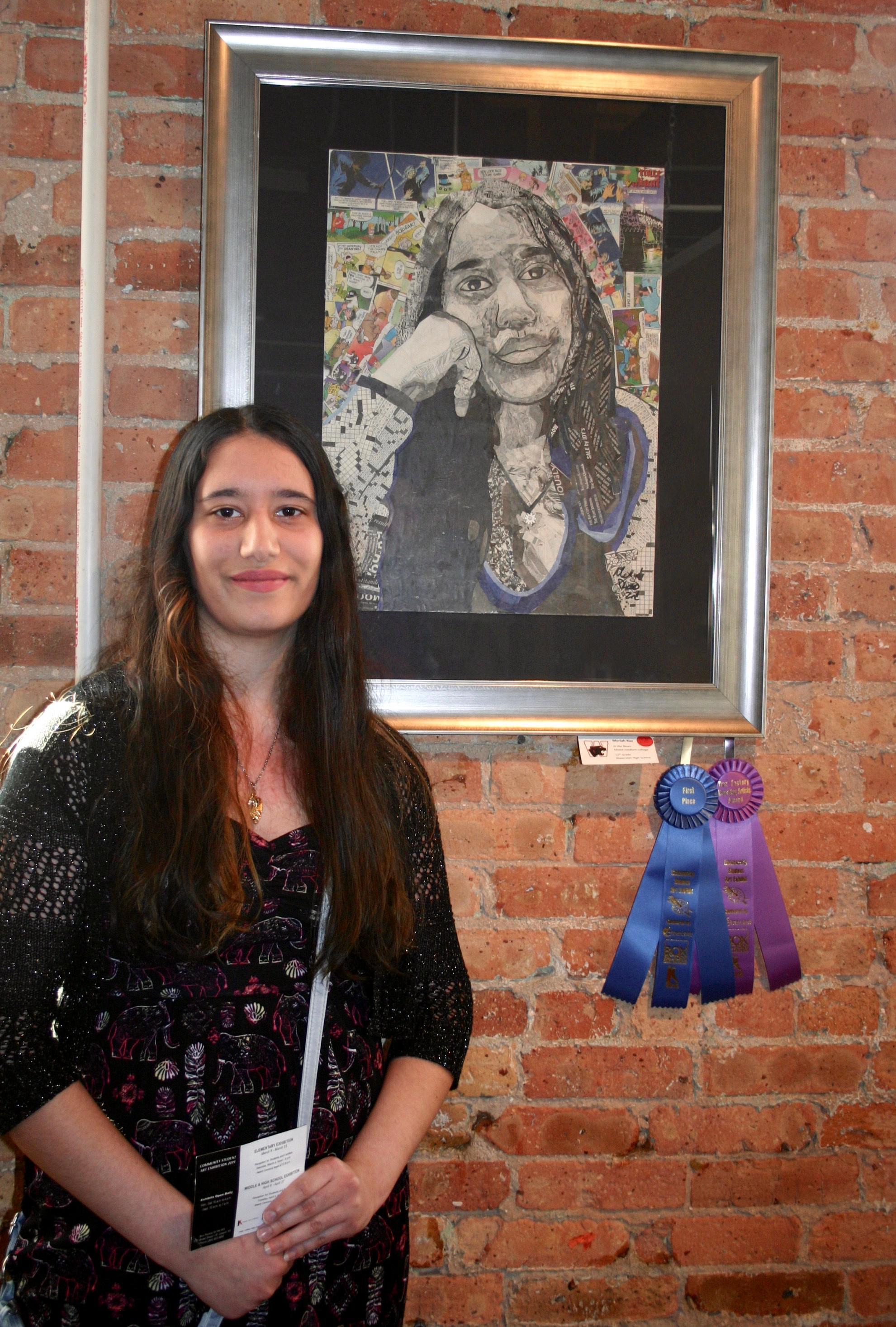 Moriah Rao with her artwrok