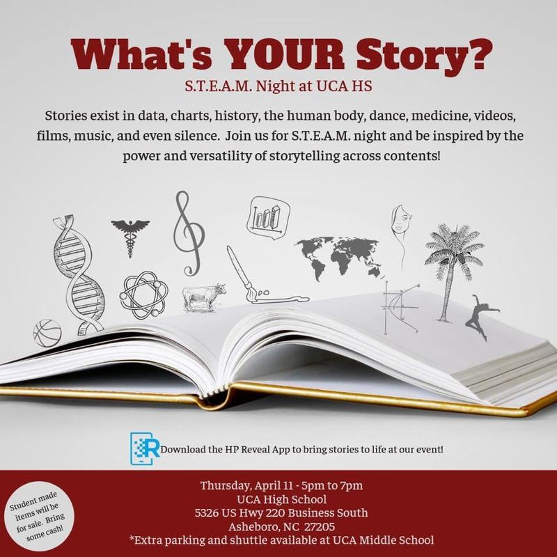 UCA High School Steam Night, What's Your Story? -April 11th/ 5-7pm Featured Photo