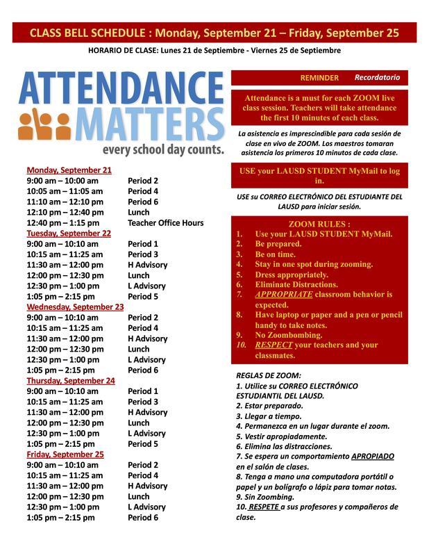 Class Bell Schedule : September 21-25, 2020 Featured Photo