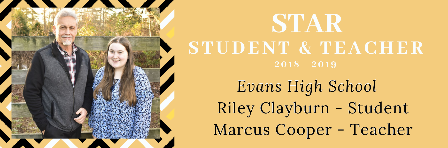 Evans High School STAR student Riley Clayburn with STAR teacher Marcus Cooper