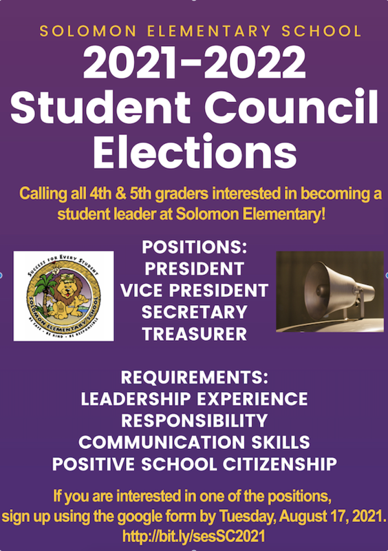 2021-2022 Student Council Elections, Calling all 4th and 5th Grade students.  Interested in being a student leader?  Please complete the google application for President, Vice President, Secretary, Treasurer