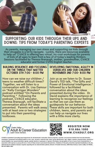 Flyer with information on two parent education workshops.