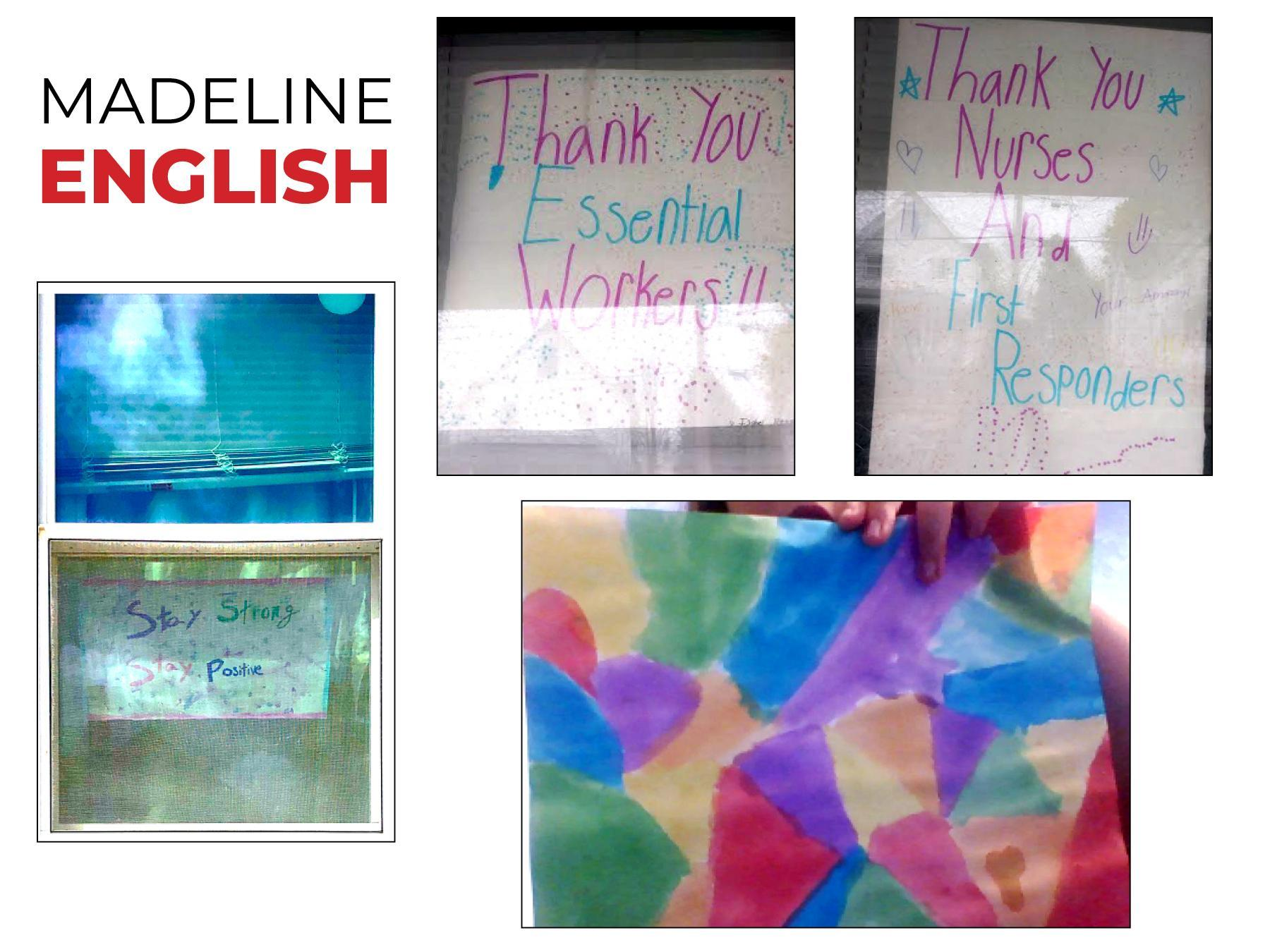 A collage of window art with messaging about Covid-19 safety and thanks to essential workers