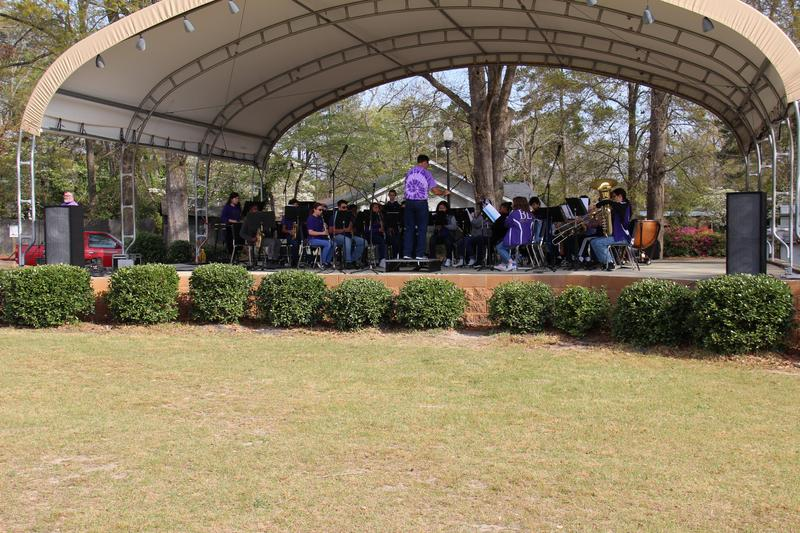 The B-L Middle School/B-L High School Honor Band performs as part of Arts in the Park at Leesville College Park on March 30th.  Around 500 people attended the event.