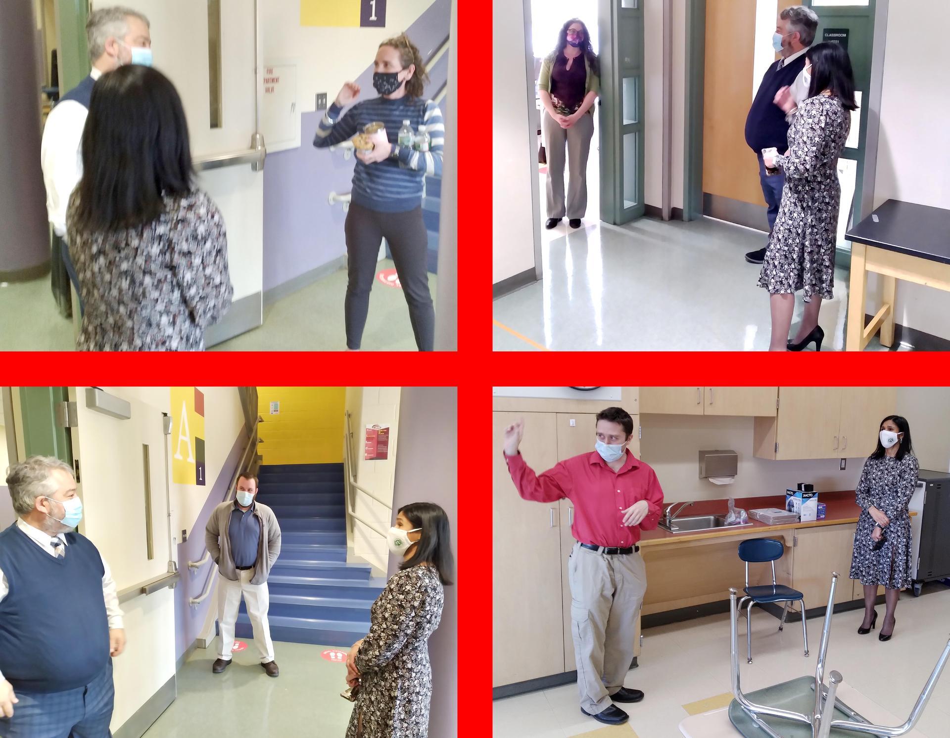Four-tile image, superintendent talking to educators