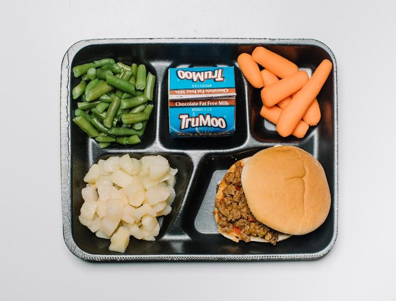 Lunch tray with food.