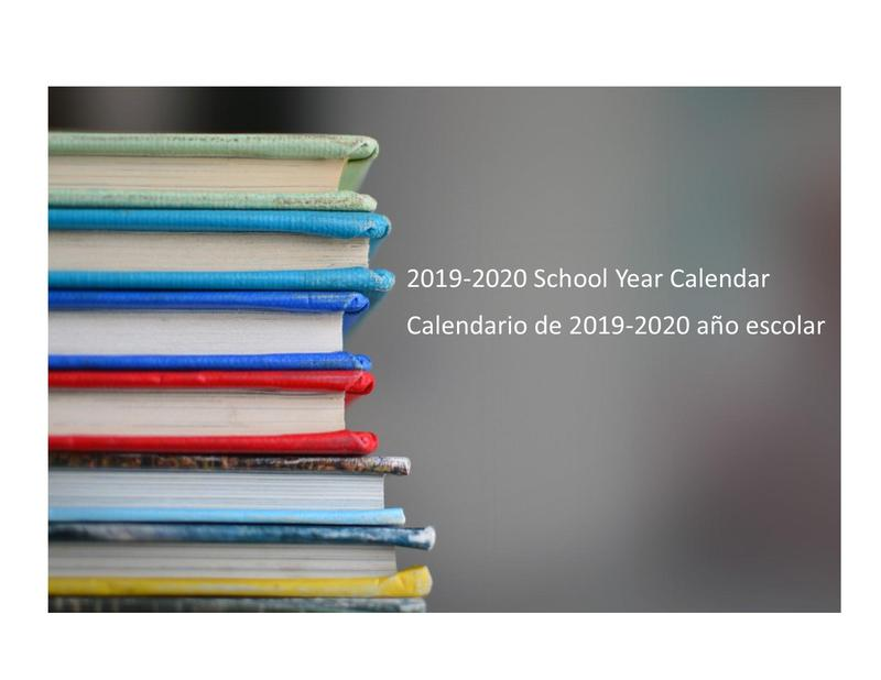 photo of books with information on calendar for 2019-2020 school year