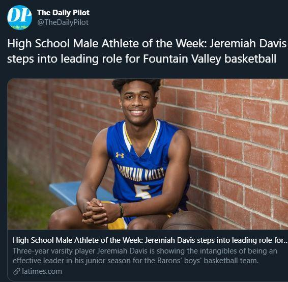 High School Male Athlete of the Week Fountain Valley's Jeremiah Davis