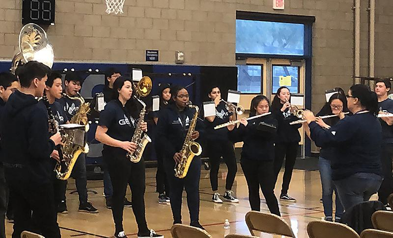 Gabrielino High's band performs during professional development day.