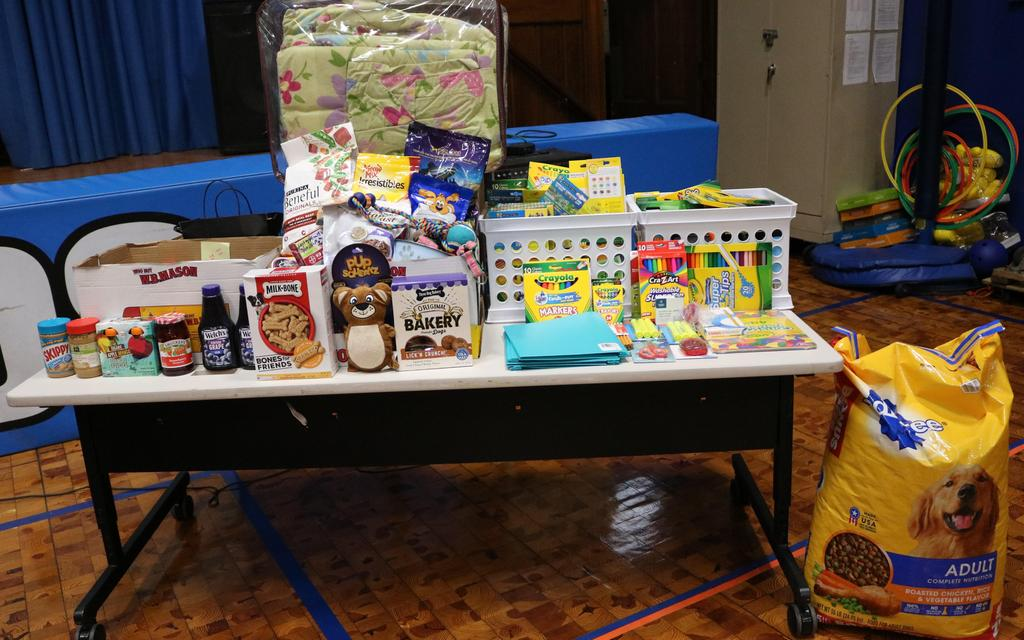 Photo of school supplies, pet food, non perishable food items and other donations for Month of Hope.