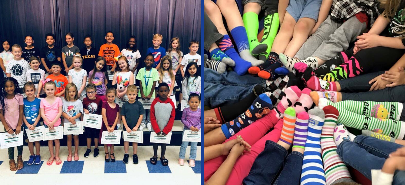 2 pictures; large group of students & lots of feet in crazy socks