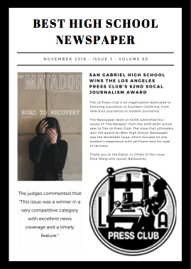 San Gabriel High School Wins Best High School Newspaper Award Featured Photo