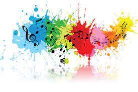 splashes of color with music notes