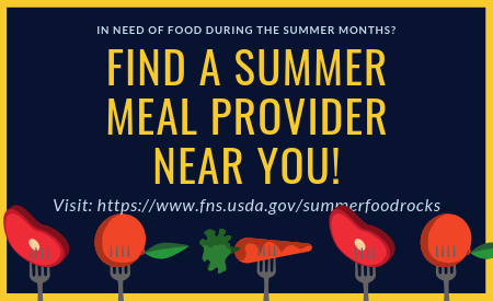 Find a Summer Feeding program near you: https://www.fns.usda.gov/summerfoodrocks