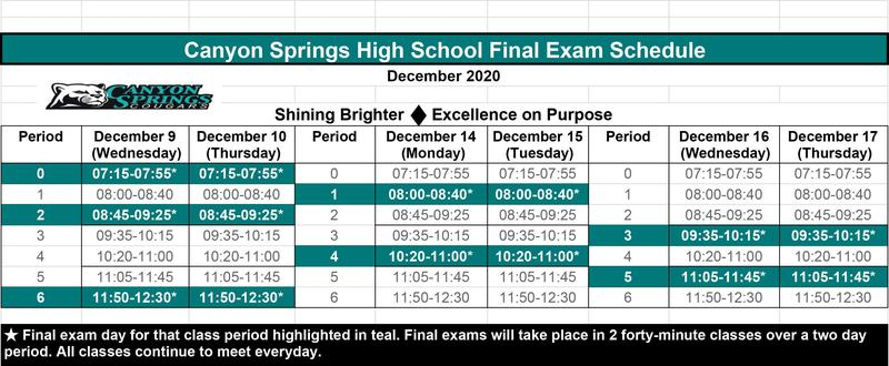 Final Exam Sched
