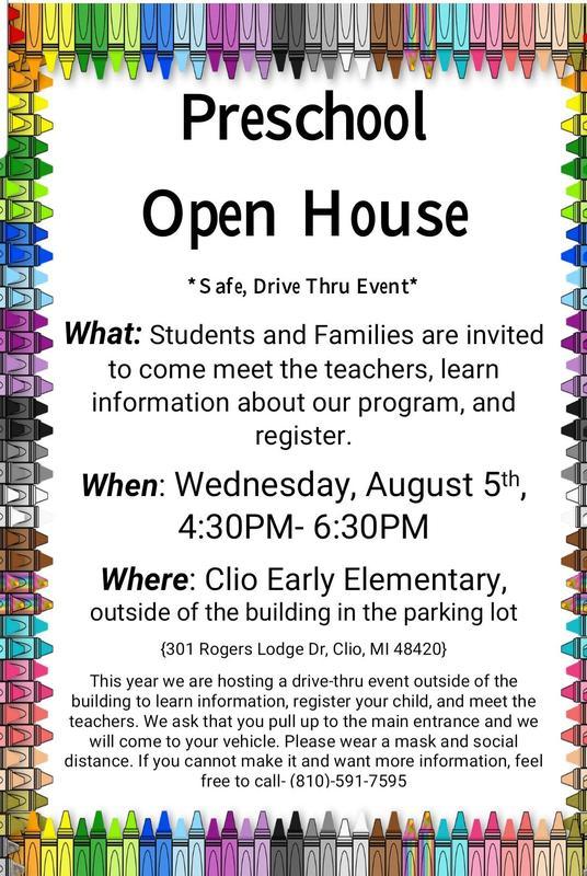 Flyer about preschool open house August 5