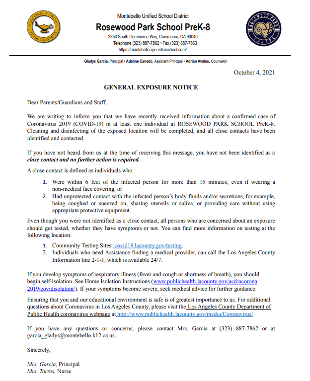general exposure letter