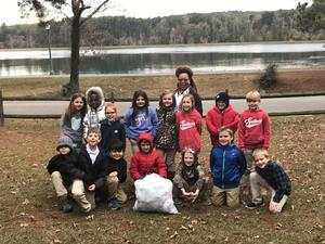 Southeast Elementary students donating socks to the Fracis Davidson Shelter