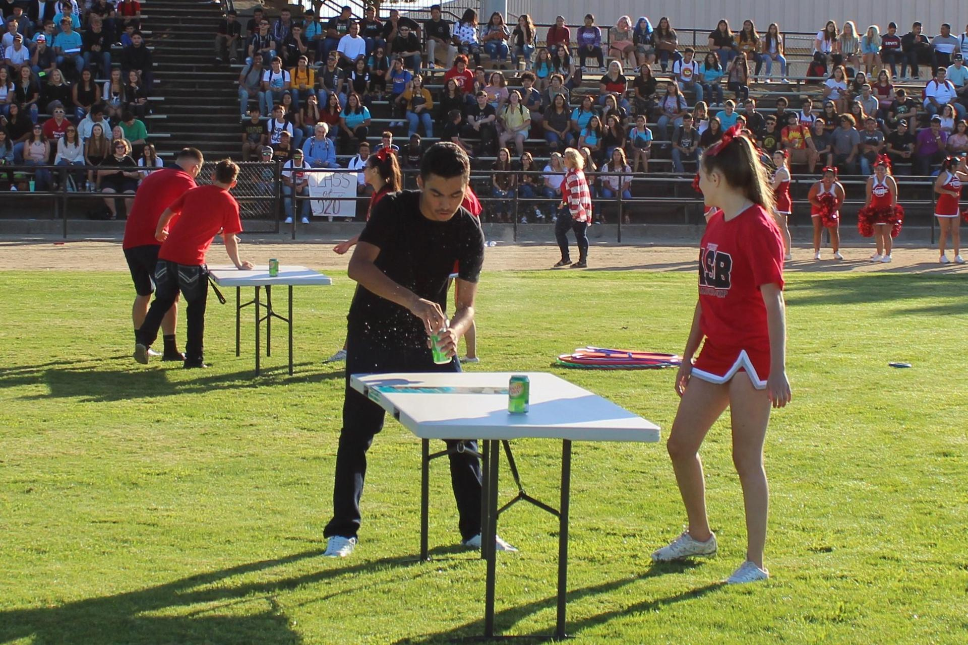 Students participating in a rally game