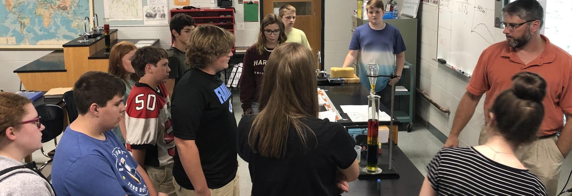 Picture of an Earth Science lab on density