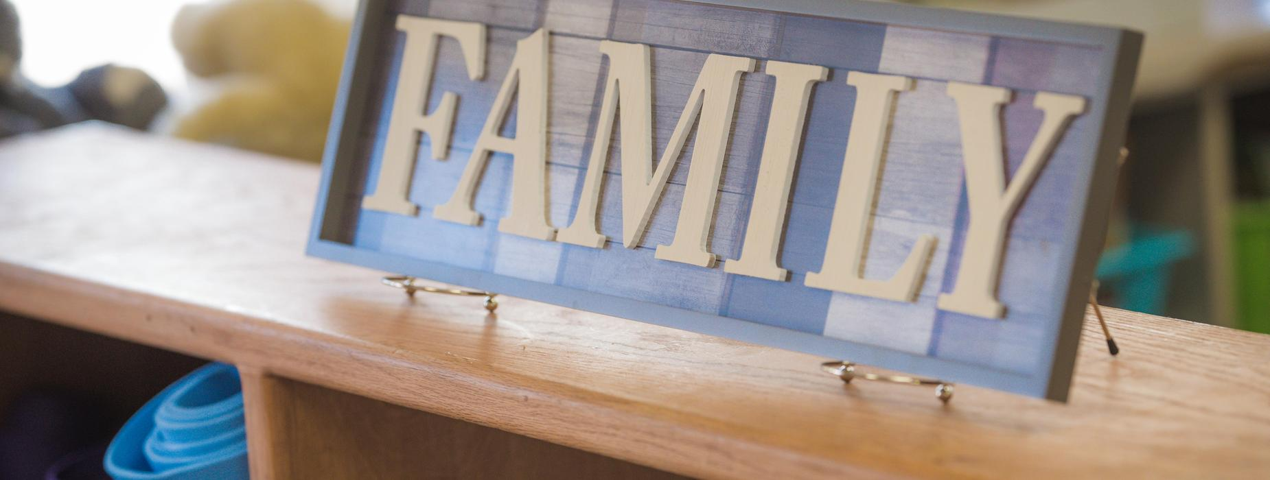 Wooden FAMILY sign.