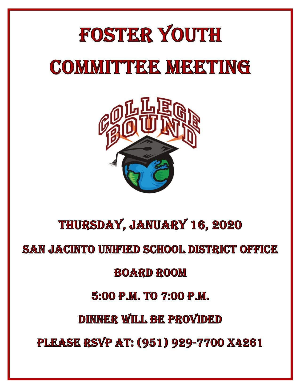 Foster Youth Committee Meeting January 16, 2020