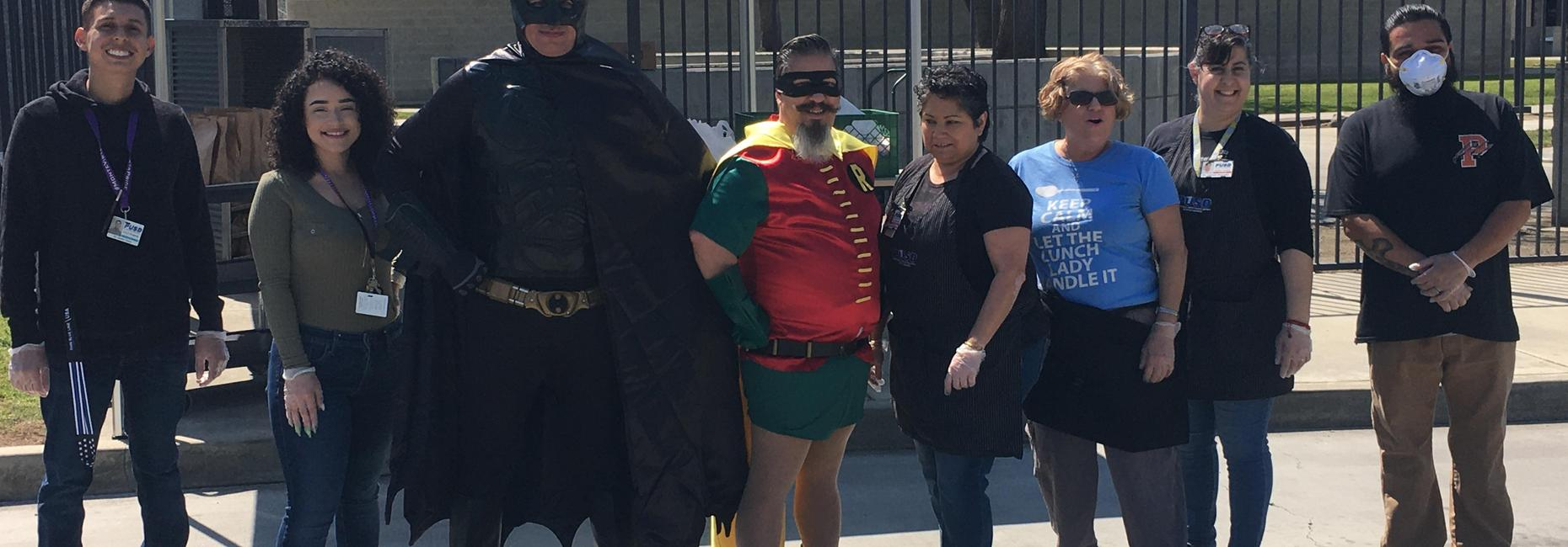 Batman and Robin visit MVE Grab and Go lunch