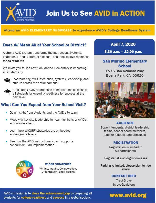 2020 AVID Elementary Showcase Flyer