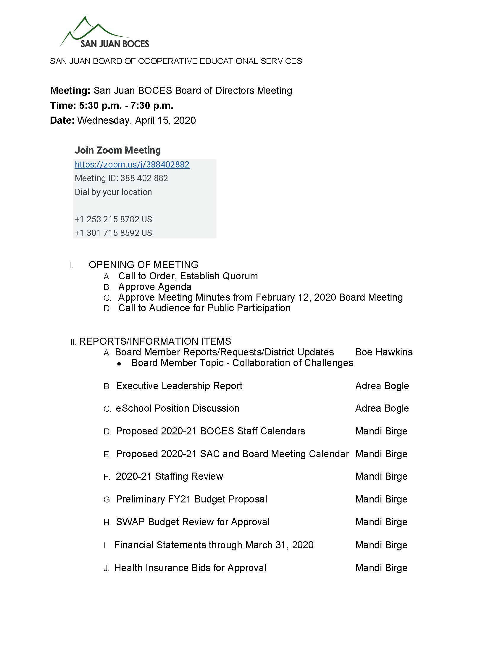 Board Meeting Agenda for April 15, 2020 at 5:30pm