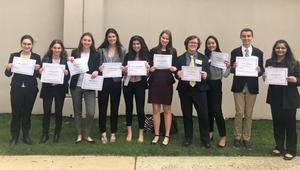 Photo of Members of the Westfield High School Youth and Government recently earned top honors at the 81st Annual New Jersey Youth and Government Conference.  L-R:  Morgan Rollins, Samara Useloff, Maggie Maguire, Madeline Stack, Grace Hutchinson, Greta McLaughlin, Mark Johnson, Kailey Zhao, Justin Anderson, and Shreya Jyotishi.