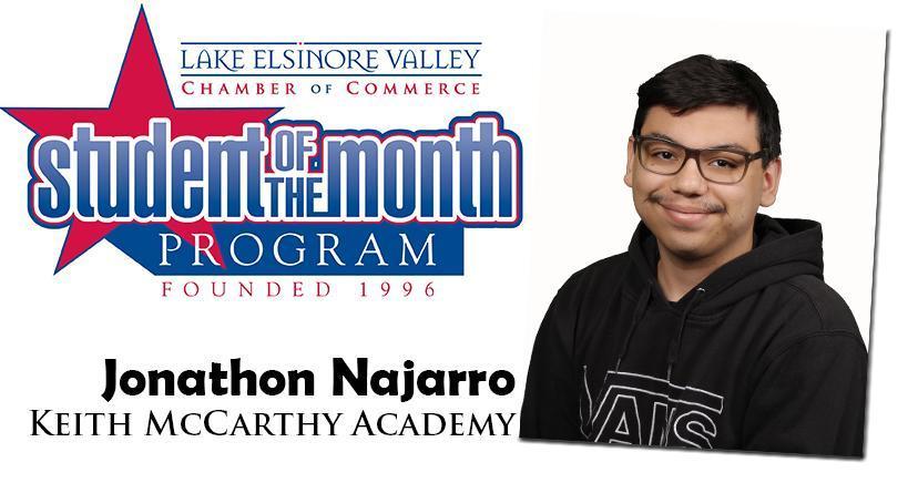 Johathon Najarro, Keith McCarthy Academy, Student of the Month, October, 2020.