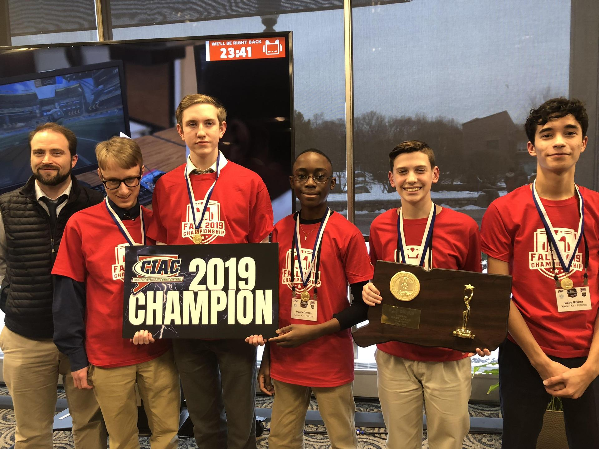 Xavier High School's Rocket League champions for 2019-2020 season.