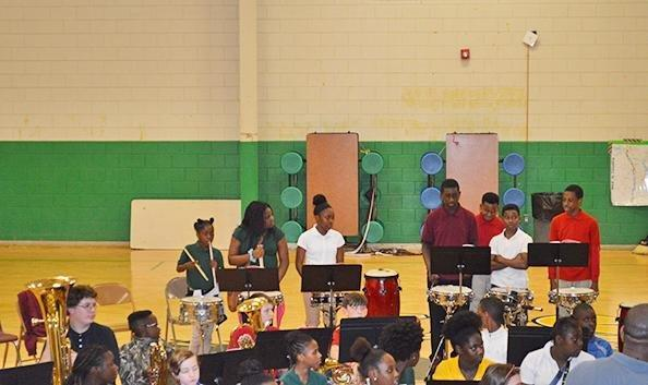 Students in band concert