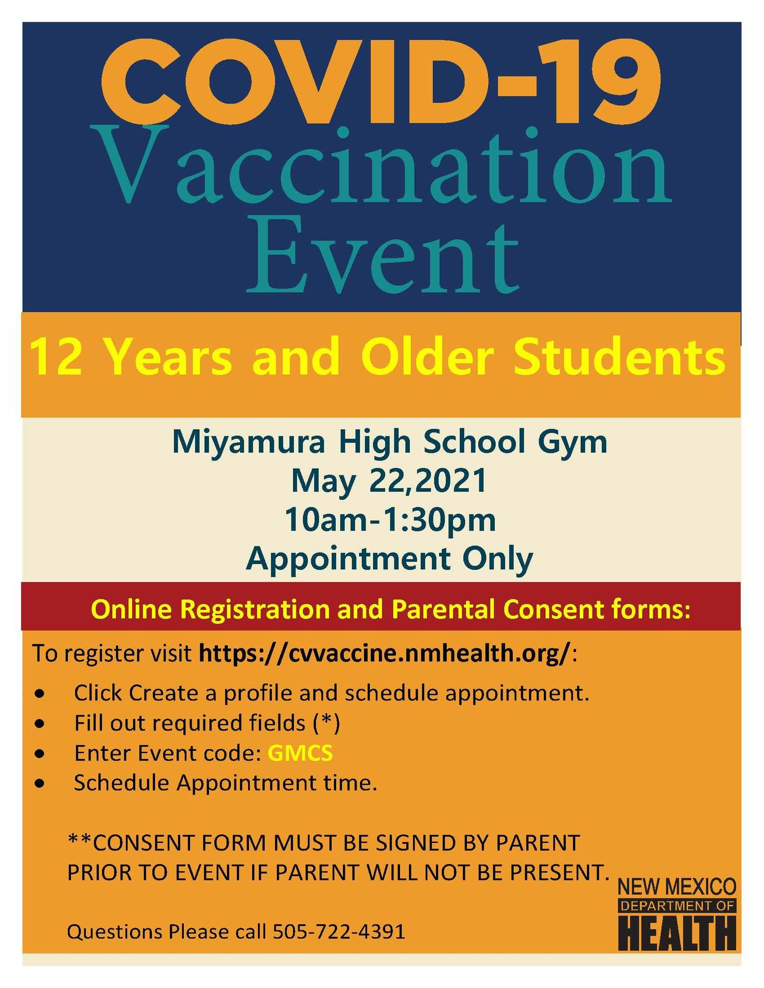 Covid Vaccine for ages 12 and older