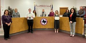 Students of the Month with the Board of Trustees and Administration