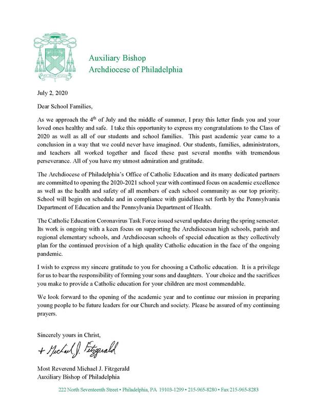 Letter From Bishop Michael Fitzgerald Featured Photo