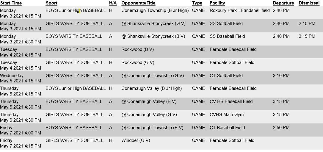 May 3 through 7 Sports Schedule