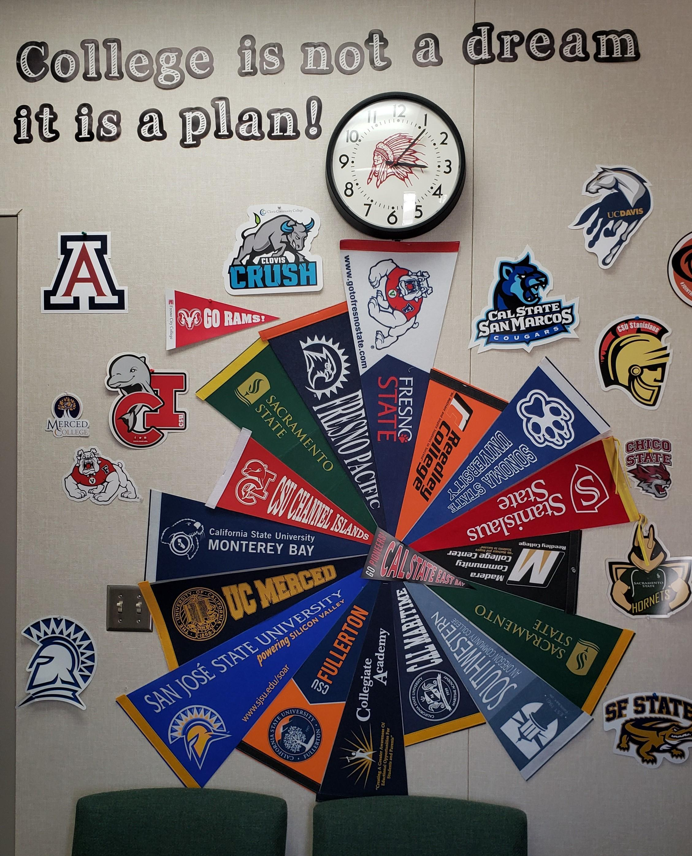 a wall of college logos and banners