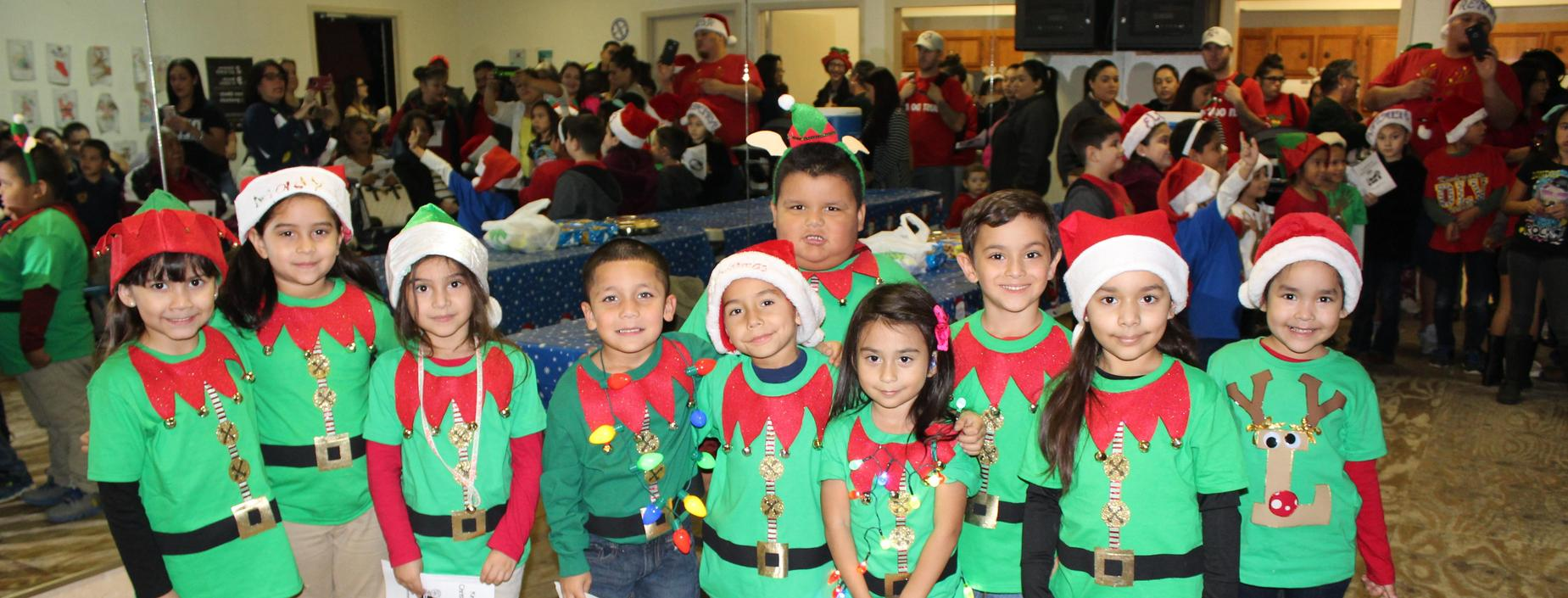 kinder student lining up to go christmas caroling