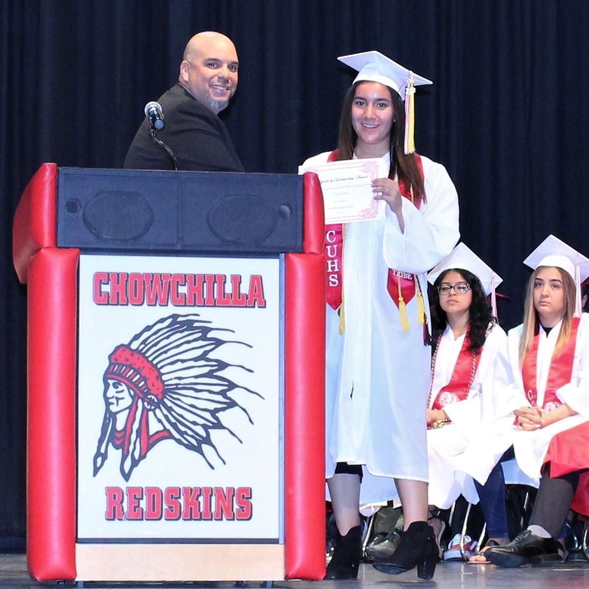 Vanessa Romo-Gress, CUHS Assistant Principal Chris Rodriguez