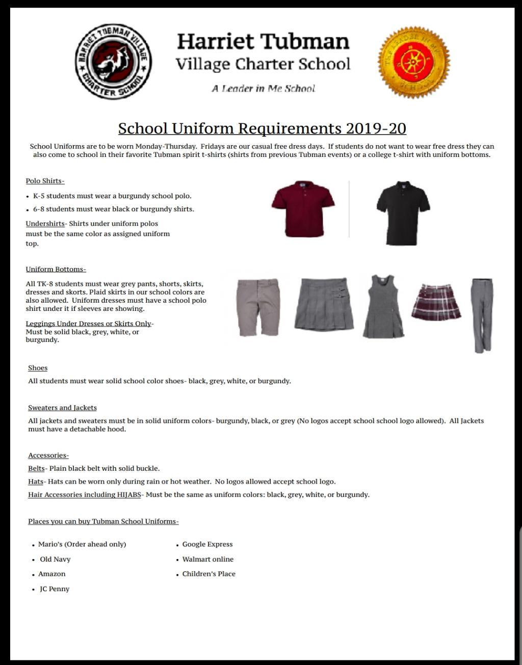 Dress Code Policy Student Handbook Dress Code Policy Harriet Tubman Village Charter School [ 1305 x 1024 Pixel ]