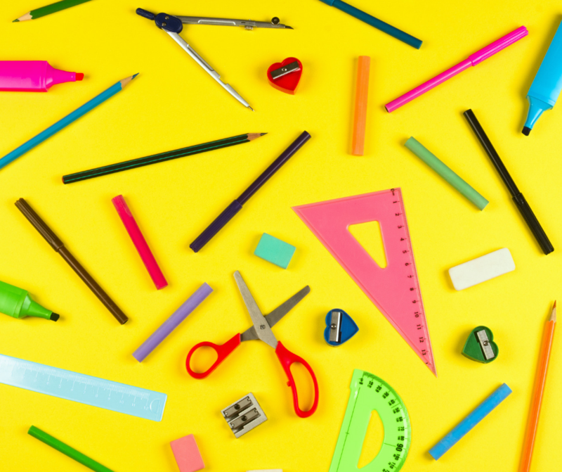 photo of scissors and pencils and protractor