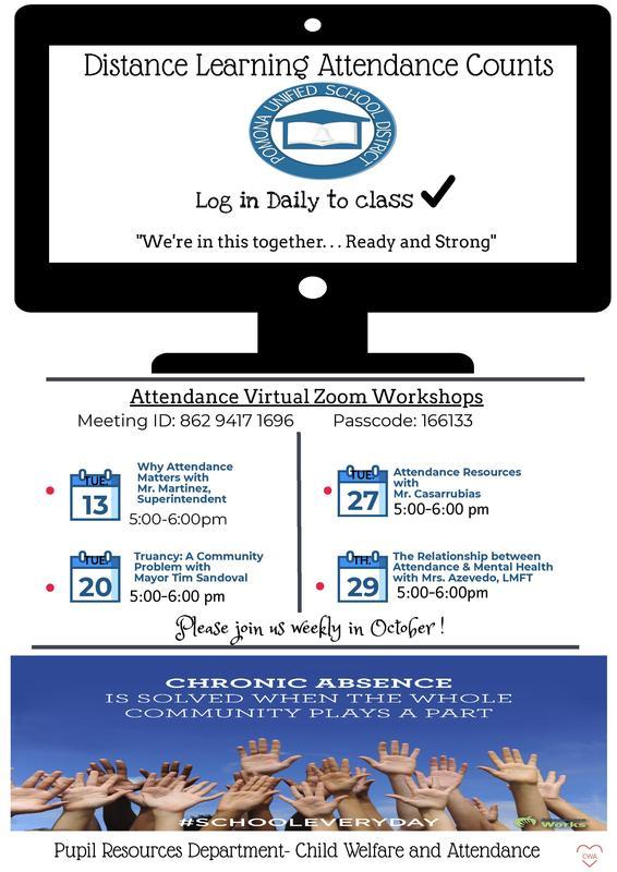 Attendance Virtual Zoom Workshops  La Asistencia a Distancia Cuenta - Octubre Talleres de Asistencia por Zoom