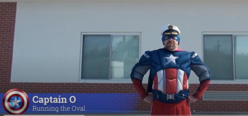 Captain O runs the Milford Oval!