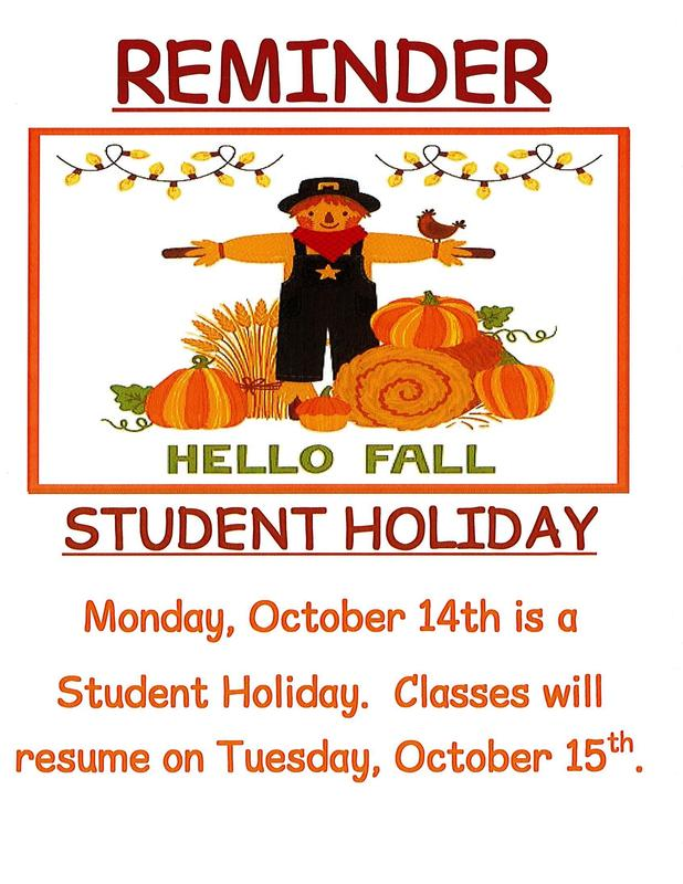 Reminder - Student Holiday Monday, October 14th Thumbnail Image