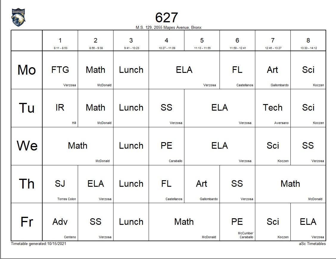 627 class schedule