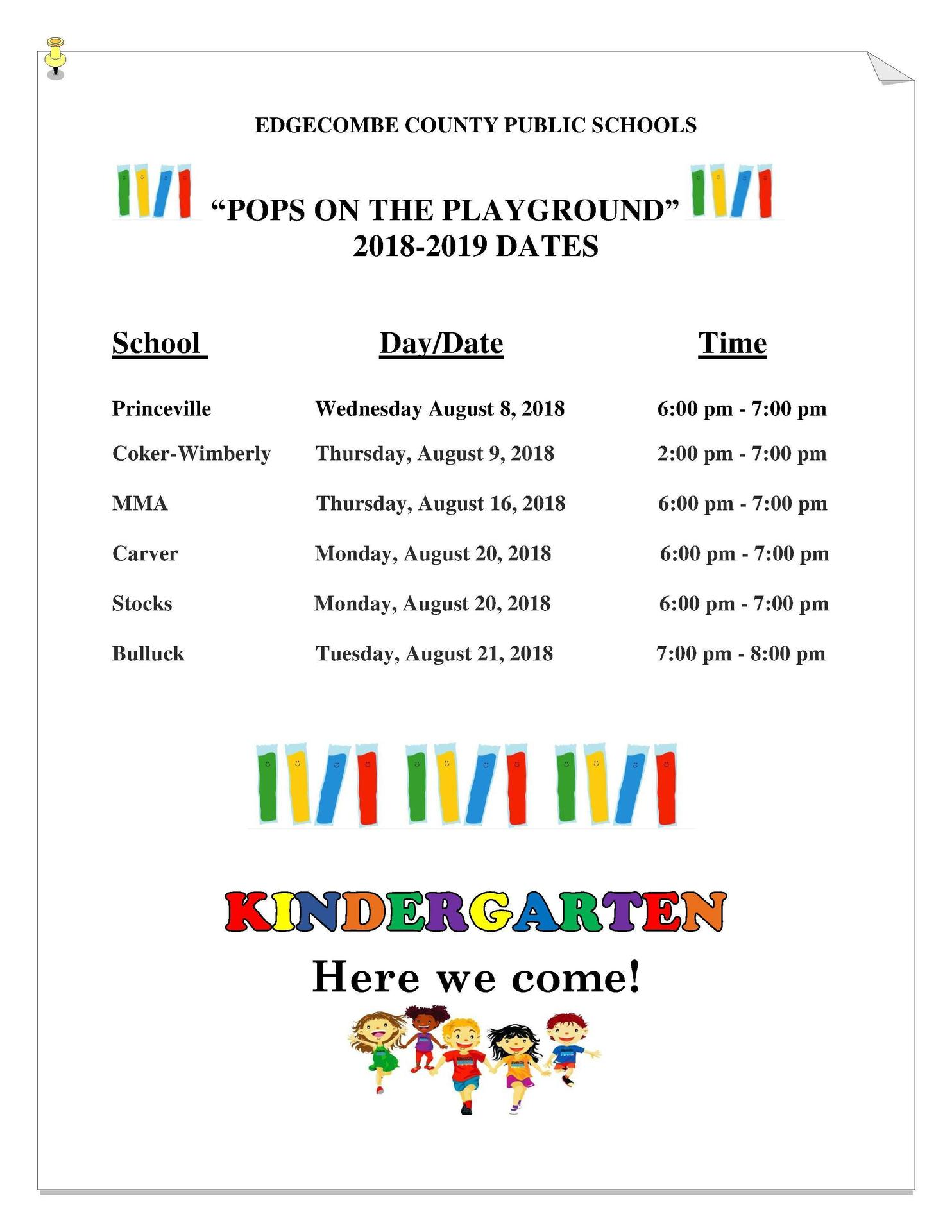 Pops on the Playground times and locations