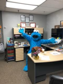 Cookie Monster at School